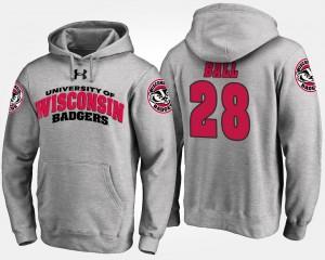 Wisconsin Badgers Montee Ball Hoodie #28 Gray For Men