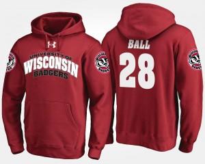 Wisconsin Badgers Montee Ball Hoodie #28 Red Men