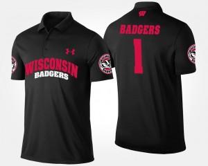 Wisconsin Badgers Polo Black No.1 Short Sleeve #1 Mens