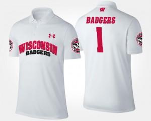 Wisconsin Badgers Polo #1 No.1 Short Sleeve White Men's