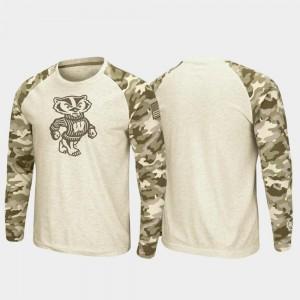 Wisconsin Badgers T-Shirt OHT Military Appreciation Raglan Long Sleeve Desert Camo Men Oatmeal
