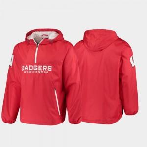Wisconsin Badgers Jacket Red Half-Zip Base Runner Mens