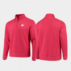 Wisconsin Badgers Jacket Red Half-Zip Pullover Tommy Bahama For Men College Sport Nassau