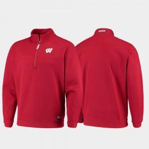 Wisconsin Badgers Jacket Shep Shirt Quarter-Zip Red For Men's