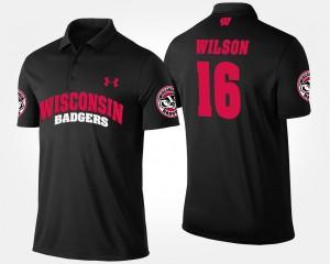 Wisconsin Badgers Russell Wilson Polo #16 Black Men's