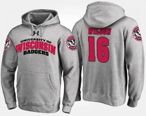 Wisconsin Badgers Russell Wilson Hoodie Men's #16 Gray
