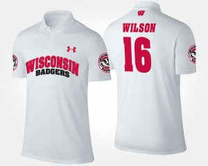 Wisconsin Badgers Russell Wilson Polo #16 Men White