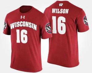 Wisconsin Badgers Russell Wilson T-Shirt #16 Red Men