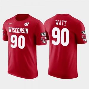 Wisconsin Badgers T.J. Watt T-Shirt For Men's Red Future Stars Pittsburgh Steelers Football #90