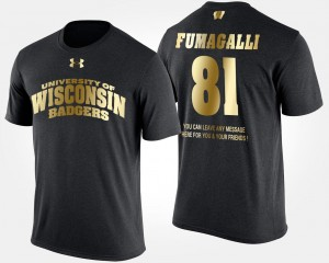 Wisconsin Badgers Troy Fumagalli T-Shirt Gold Limited Mens #81 Black Short Sleeve With Message