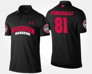 Wisconsin Badgers Troy Fumagalli Polo Black #81 For Men