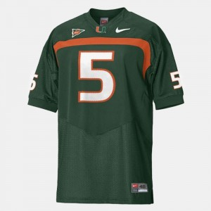 Miami Hurricanes Andre Johnson Jersey #5 Green College Football Men