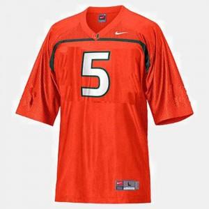 Miami Hurricanes Andre Johnson Jersey Orange #5 College Football Men's