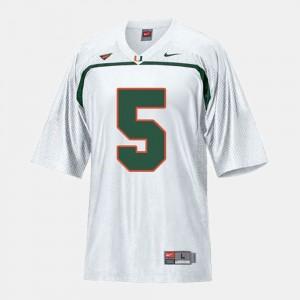 Miami Hurricanes Andre Johnson Jersey For Men's #5 College Football White
