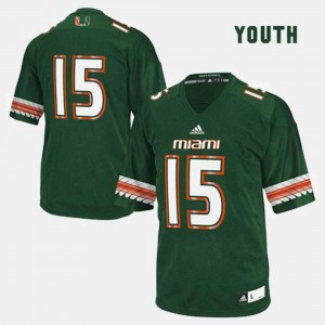 Miami Hurricanes Jersey Youth(Kids) #15 Green College Football