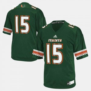 Miami Hurricanes Jersey Green #15 For Men's College Football