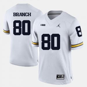 Michigan Wolverines Alan Branch Jersey Men's White College Football #80