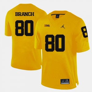 Michigan Wolverines Alan Branch Jersey College Football Yellow For Men #80