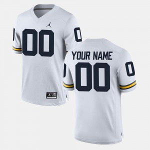 Michigan Wolverines Customized Jersey White College Limited Football #00 Men's