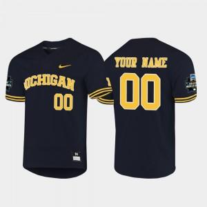 Michigan Wolverines Customized Jerseys Navy 2019 NCAA Baseball College World Series #00 Mens