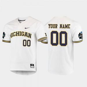 Michigan Wolverines Custom Jersey For Men 2019 NCAA Baseball College World Series White #00