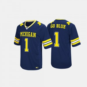 Michigan Wolverines Jersey Navy For Men #1 Hail Mary II