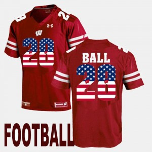Wisconsin Badgers Montee Ball Jersey US Flag Fashion #28 Maroon For Men's