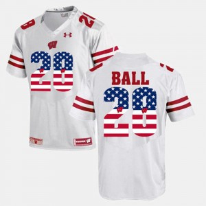 Wisconsin Badgers Montee Ball Jersey White US Flag Fashion For Men #28