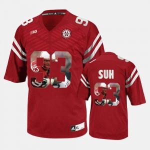 Nebraska Cornhuskers Ndamukong Suh Jersey Player Pictorial For Men's Red #93