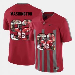 Ohio State Buckeyes Adolphus Washington Jersey For Men's #92 Red Pictorial Fashion