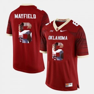 Oklahoma Sooners Baker Mayfield Jersey Crimson Mens #6 Player Pictorial