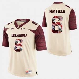 Oklahoma Sooners Baker Mayfield Jersey #6 Player Pictorial White For Men