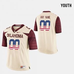 Oklahoma Sooners Customized Jersey US Flag Fashion For Kids #00 Crimson
