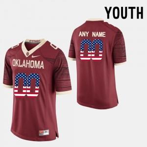 Oklahoma Sooners Custom Jerseys Red US Flag Fashion #00 For Kids