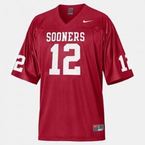 Oklahoma Sooners Landry Jones Jersey College Football #12 Red Kids
