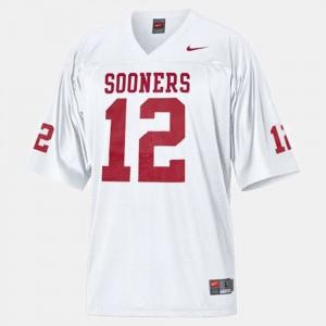 Oklahoma Sooners Landry Jones Jersey College Football White Youth(Kids) #12