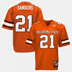 Oklahoma State Cowboys and Cowgirls Barry Sanders Jersey Orange #21 For Men College Football