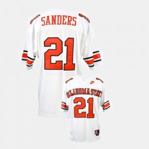 Oklahoma State Cowboys and Cowgirls Barry Sanders Jersey College Football White For Men #21