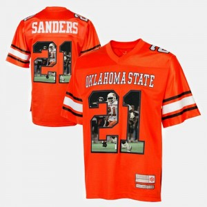 Oklahoma State Cowboys and Cowgirls Barry Sanders Jersey Orange Men's Player Pictorial #21