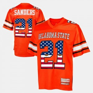 Oklahoma State Cowboys and Cowgirls Barry Sanders Jersey #21 For Men's Throwback Orange