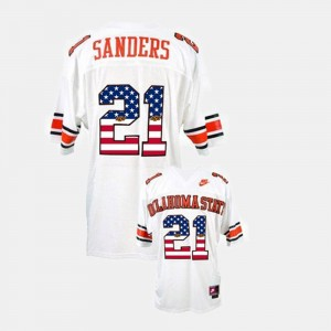 Oklahoma State Cowboys and Cowgirls Barry Sanders Jersey Throwback For Men #21 White