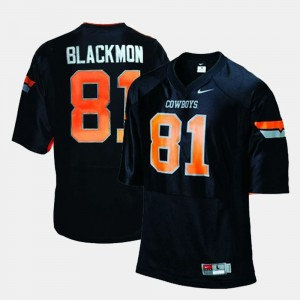 Oklahoma State Cowboys and Cowgirls Justin Blackmon Jersey For Men's Black #81 College Football