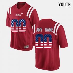 Ole Miss Rebels Custom Jerseys US Flag Fashion #00 Kids Red