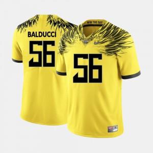 Oregon Ducks Alex Balducci Jersey College Football #56 Yellow Mens