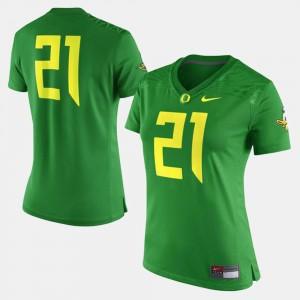 Oregon Ducks Jersey College Football Green For Women's #21