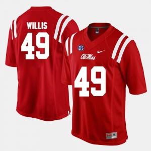 Ole Miss Rebels Patrick Willis Jersey Red Alumni Football Game #49 For Men's