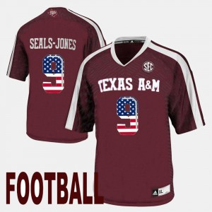 Texas A&M Aggies Ricky Seals-Jones Jersey Maroon For Men's #9 US Flag Fashion