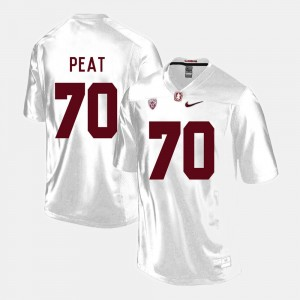 Stanford Cardinal Andrus Peat Jersey White Men's #70 College Football