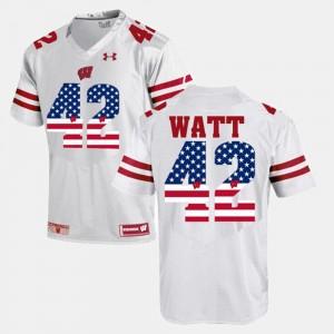 Wisconsin Badgers T.J Watt Jersey #42 US Flag Fashion For Men White