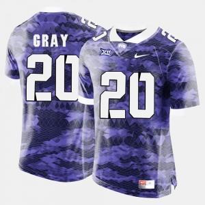TCU Horned Frogs Deante Gray Jersey Men #20 College Football Purple